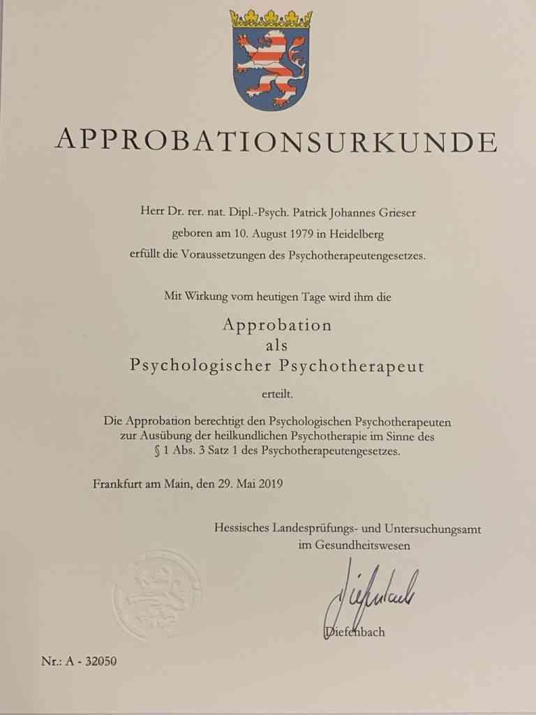 Approbationsurkunde Dr. Grieser